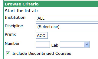 the browse criteria box