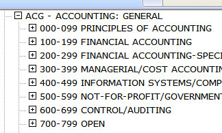 a listing of accounting courses and possible course numbers