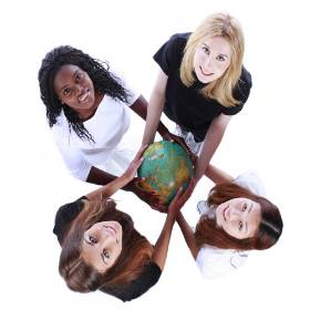 4 females holding a globe map