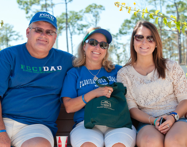 family on bench at fgcu