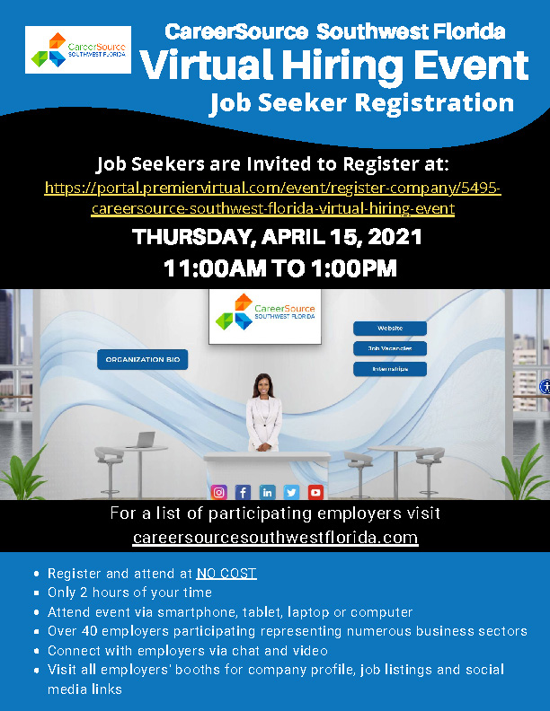 CareerSource Southwest Florida - Virtual Hiring Event - 4/15/2021