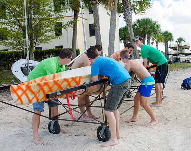 Photo of concrete canoe built by FGCU engineering students