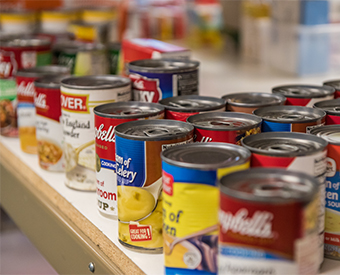 Food Pantry Cans on Shelf